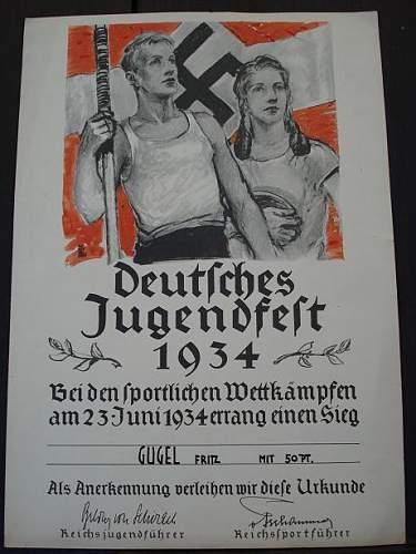 Deutsches Jugendfest 1934 Urkunden / Diploma