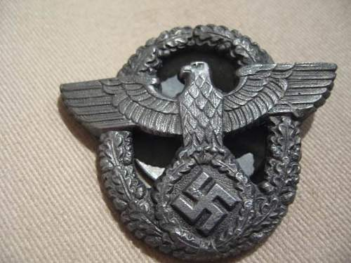 Hitler Youth Division Cap Eagle and Police Badge w/screw back: Authentic pieces?