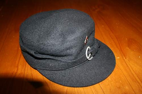 Click image for larger version.  Name:Hitler youth winter cap (note silver Buckle) & metal HJ Diamond-RZM marked 0.00.jpg Views:36 Size:66.1 KB ID:962503