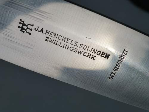 Super catch! very Early Henckels Hj Fahrtenmesser with Motto and 100% crossgrain!