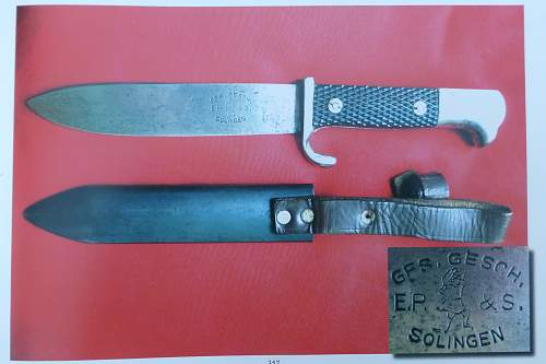 """Rare """"eagle heads"""" HJ knife by E.P. & S."""
