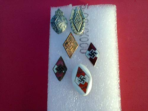 hitler youth dagger and some pins