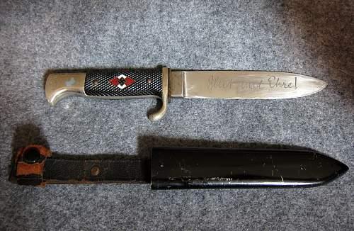 HJ Fahrtenmesser by WKC dual maker marked