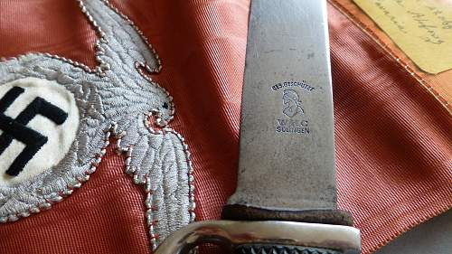 Early HJ Fahrtenmesser with Motto by WKC with Political High leader Funeral Sash