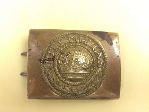 Need Help Fake/Repro One Piece Stamped Brass German Imperial Belt Buckle? WW1 WWI Gott Mit Uns