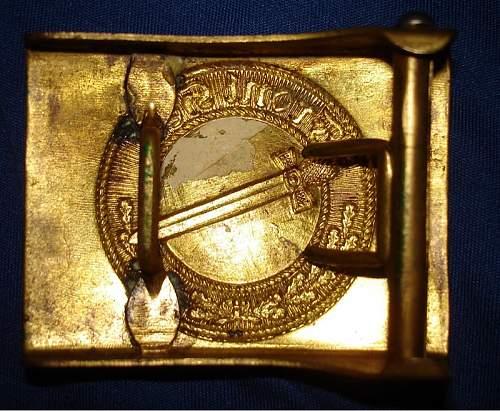 Need Help Fake/Repro One Piece Stamped Brass German Imperial Belt Buckle? WW1 WWI Gott Mit Uns