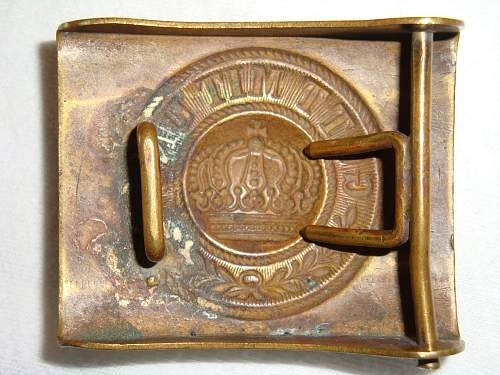Interesting 1-Piece Stamped Brass Imperial Prussian Buckle