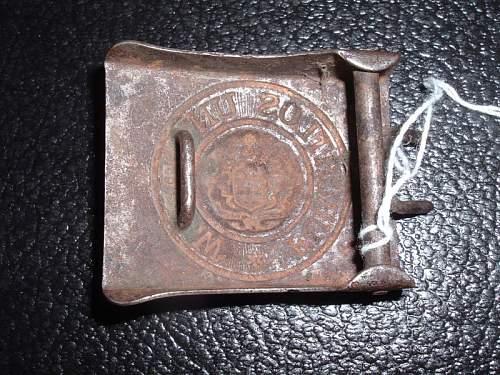 Click image for larger version.  Name:Original Imperial German Wurtemburg steel belt buckle.back.jpg Views:168 Size:129.0 KB ID:201693