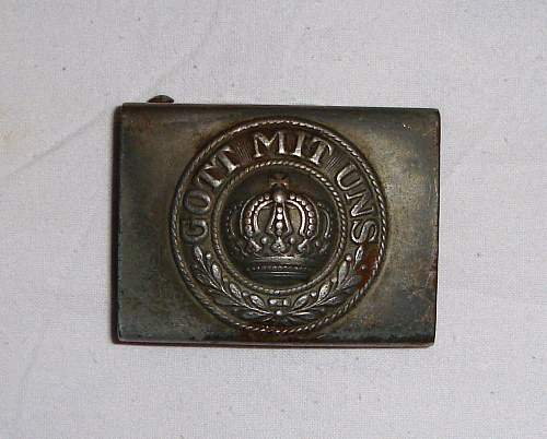 Prussian Buckle with field repaired/modified leather belt