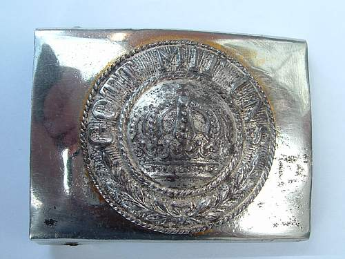 Click image for larger version.  Name:Nickel over brass Prussian Customs Official or Gendarmarie Front.jpg Views:52 Size:150.2 KB ID:292607