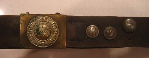 WWI German Buckle & Belt with buttons