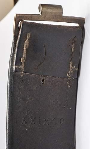 Imperial German Grey Steel Belt & Buckle, interesting sewing holes?