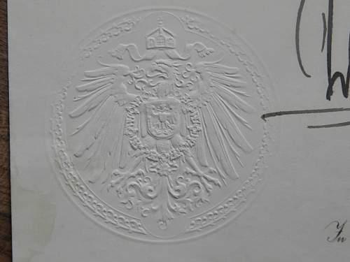 document with wilhelm II signature?