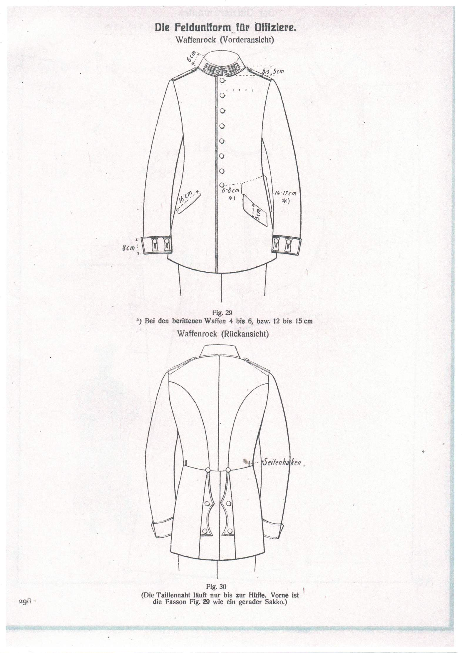 German uniforms patterns from a tailoring book
