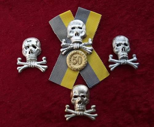 Brunswick Hussars 50 Year Traditions Skull Veterans badge