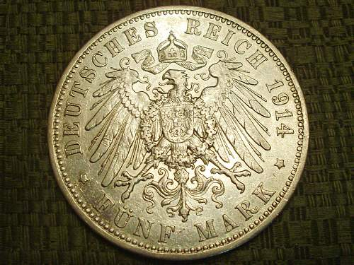 Imperial Germany 5 Mark Coin - 1914