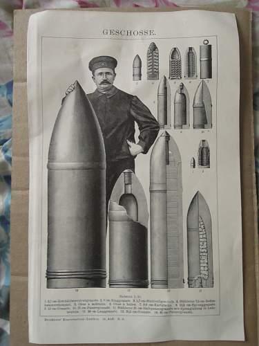 1898 German Antique Artillery Shells Graphic
