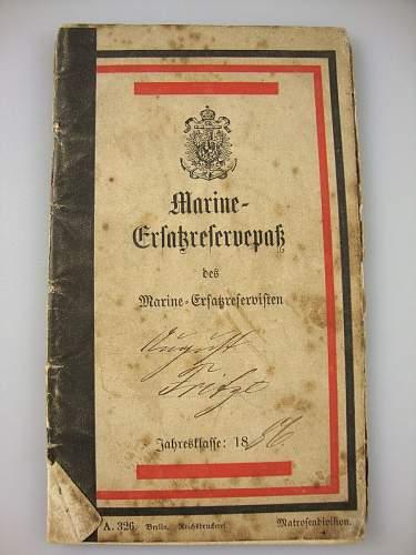 Click image for larger version.  Name:1886 Kaiserlichemarine Erstazreservepaß  #1.JPG Views:53 Size:170.7 KB ID:300560