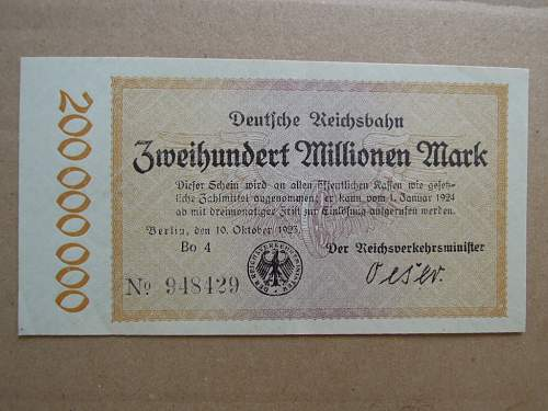 WWI period German paper currency