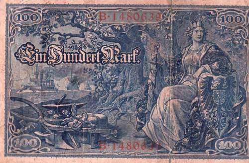 Click image for larger version.  Name:1910 blue 100 Mark note.JPG Views:1471 Size:102.9 KB ID:303121