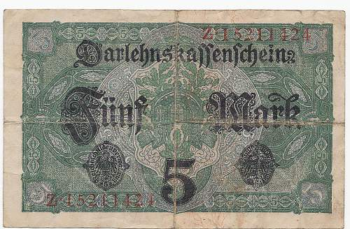 Feldpostkarte and Imperial banknotes