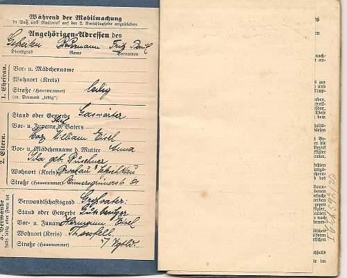 WW1 German Military Pass plus photos
