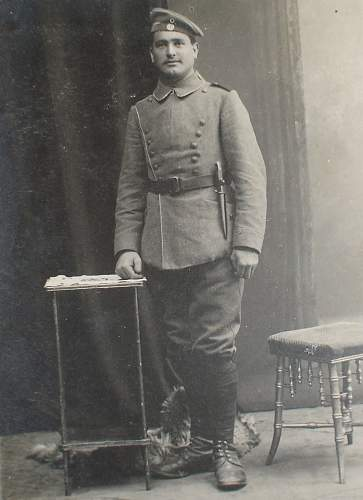 Postcard of a  German Soldier with trench knife