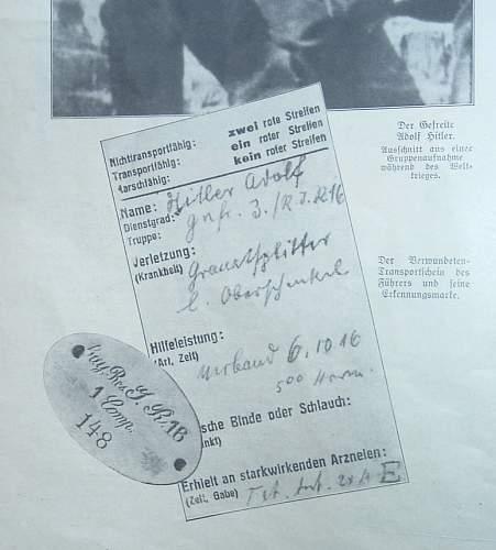 Hitler's WW1 Dog Tag / Erkennungsmarke