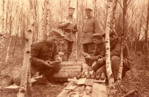 Wooden box for german egg grenades