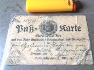 1919 Dresden Police Pass