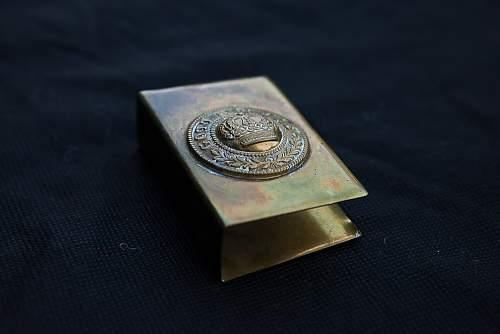 Gott Mut Uns brass matchbox holder?