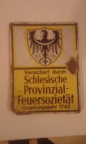 Prussian insurance plate