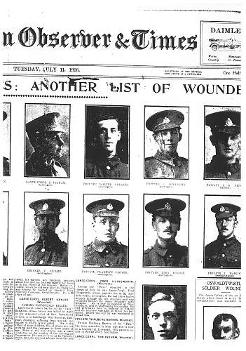 Daily Mail 1st Day of Somme Battle Card
