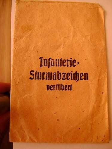 Carl Wild Infanterie Sturmabzeichen & presentation packet