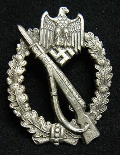 "Infanterie Sturmabzeichen in Silber, Karl Wurster, Small ""W"""