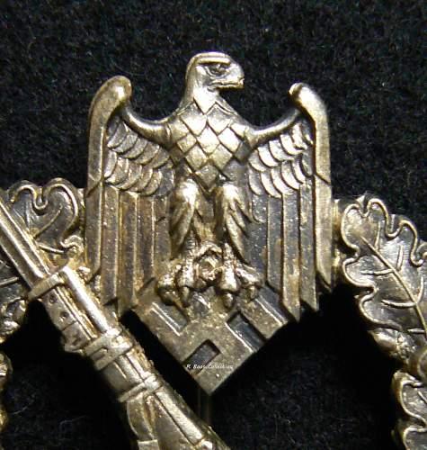 Infanterie Sturmabzeichen in Silber, Slim Stalk, Attributed to C.E. Juncker