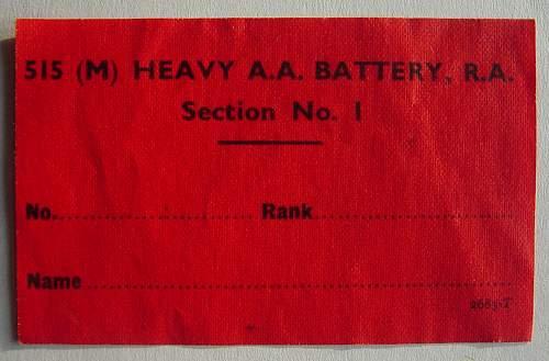 Royal Artillery private purchase uniform label
