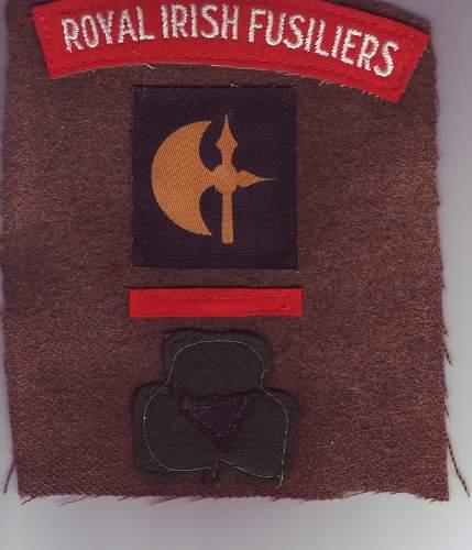 British 78th division Royal Irish Fusiliers cloth insignia