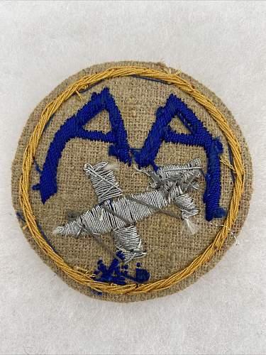 Theater Made 126th Anti-Aircraft Battalion V-1 Bullion Patch
