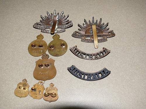 Aussie WW1 Rising suns and RSL badges