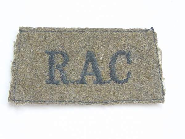 Click image for larger version.  Name:Royal Armoured Corps slip on shoulder title..jpg Views:193 Size:141.8 KB ID:19079