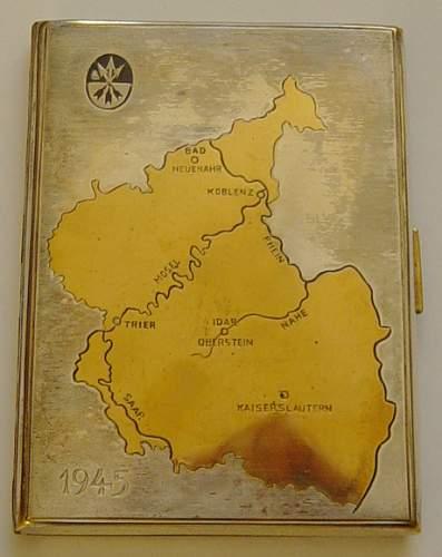 1945 German made US XXIII Corps cigarrette case
