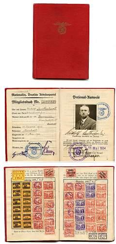 Click image for larger version.  Name:NSDAP Membership book.jpg Views:137 Size:240.4 KB ID:320325