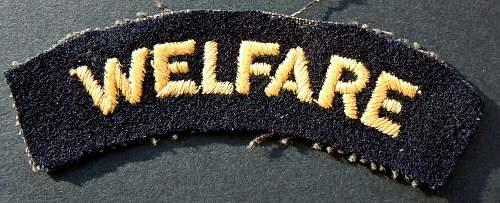 """Welfare"" cloth shoulder title"