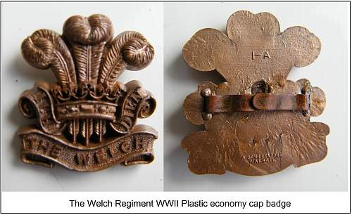 Click image for larger version.  Name:The Welch Regiment WWII plastic economy badge new m.jpg Views:429 Size:319.2 KB ID:484708