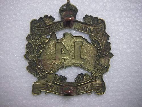 Click image for larger version.  Name:14th Battalion The Prahran Regiment  hat badge 2.jpg Views:70 Size:286.7 KB ID:534833