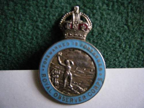 Royal Observer Corps Lapel Badge