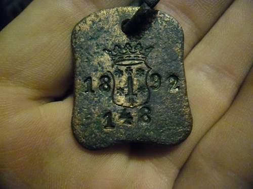 1892 early ID / Dog tag  ?????