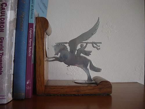"""British Airborne """"Pegasus"""" book ends."""