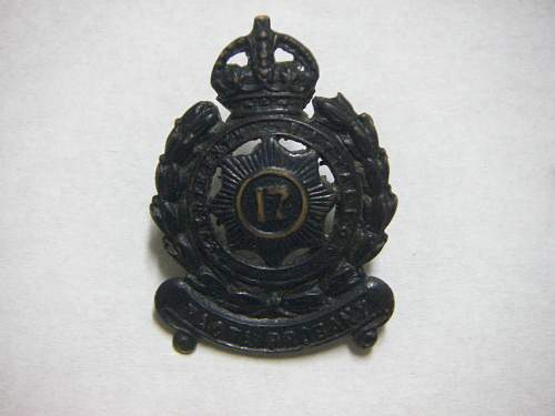 Click image for larger version.  Name:17th Battalion The North Sydney Regiment collar badge 1 1.jpg Views:101 Size:160.6 KB ID:588231